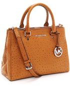 Michael Kors Medium Bedford Dressy Ostrich Embossed Tote, Luggage - Lyst