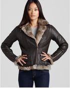 Michael Kors Kors Fur Trim Leather Jacket - Lyst