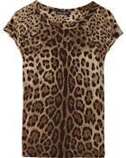 Dolce & Gabbana Leopard-print Silk-crepe Top - Lyst