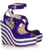 Brian Atwood April Suede Espadrille Wedge Sandals - Lyst