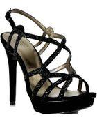 Pelle Moda Flirt - Black Suede Rhinestone Platform Sandal - Lyst