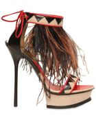 DSquared2 140mm Leather & Ostrich Feathers Sandals - Lyst