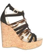 Jimmy Choo 130mm Pekabo Suede & Metallic Leather Wedges - Lyst