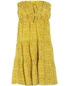 Tibi Printed Cotton Strapless Dress - Lyst