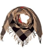 Burberry Camel Check Cotton Scarf - Lyst