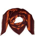 Burberry Chocolate Color Block Silk Scarf - Lyst