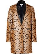 Sandro Camel Leopard Print Goat Hair Coat with Leather Trim - Lyst