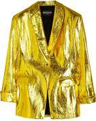 Balmain Metallic Leather Jacket - Lyst