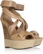 Burberry Leather Wedge Sandals - Lyst