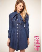 ASOS Collection Asos Petite Exclusive Denim Dress with Pussybow - Lyst