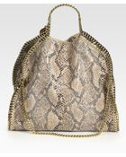Stella McCartney Snake-printed Linen Falabella Foldover Tote Bag - Lyst