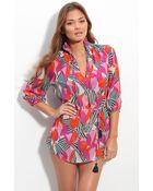 Tory Burch Print Silk Cover-up Tunic - Lyst