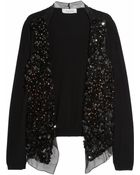 Valentino Embellished Wool and Cashmere-blend Fine-knit Cardigan - Lyst