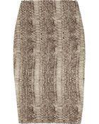 Lanvin Snakeskin-knit Silk-blend Pencil Skirt - Lyst