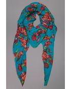 Tolani Floral Scarf Turquoise - Lyst