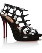 Christian Louboutin 20Th Anniversary Neuron 120 Suede Cage Sandals - Lyst