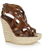 Burberry Leather and Rope Wedge Sandals - Lyst