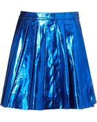 Topshop Metallic Pleated Skirt - Lyst
