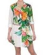 MSGM Printed Cotton Poplin Dress - Lyst