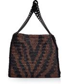 Roberto Cavalli Teakblack Animal Print Woven Straw Bag - Lyst