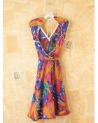 Free People Vintage Patterned Wrap Dress - Lyst
