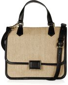 Marc By Marc Jacobs Faux Leather Trimmed Straw Shoulder Bag - Lyst