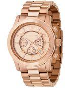 Michael Kors Men'S Chronograph Runway Rose Gold Plated Stainless Steel Bracelet Watch 46Mm Mk8096 - Lyst