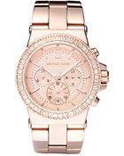 Michael Kors Women'S Chronograph Dylan Rose Gold-Tone Stainless Steel Bracelet Watch 43Mm Mk5412 - Lyst