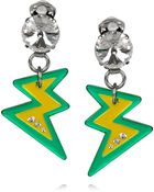 Miu Miu Plexiglass Crystal Lightning Bolt Clip Earrings - Lyst