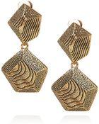 Oscar de la Renta 24karat Goldplated Woodeffect Clip Earrings - Lyst