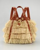 Tory Burch Runway Raffia Backpack - Lyst