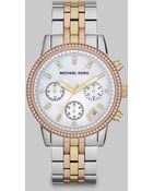 Michael Kors Crystal Tri-Tone Stainless Steel Chronograph Watch - Lyst