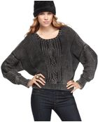 Jessica Simpson Scoop Neck Long Sleeve Cable Knit Acid Wash - Lyst