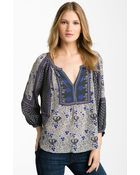 Rebecca Taylor Mixed Print Silk Blouse - Lyst