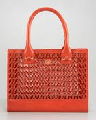 Tory Burch Ella Logo Perforated Tote - Lyst