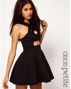 ASOS Collection Asos Petite Exclusive Skater Dress with Strappy Cut Out Middle - Lyst
