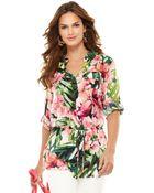 Calvin Klein Threequarter Vneck Floralprinted Blouse - Lyst