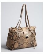 Jimmy Choo Natural Snake Embossed Leather Rhea Large Tote - Lyst