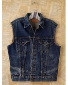 Free People Vintage Distressed Denim Vest - Lyst