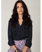 Free People Trimmed Polka Dot Blouse - Lyst