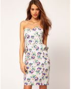 ASOS Collection  Floral Print Dress with Peplum - Lyst