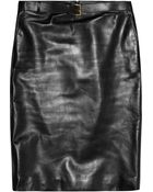 Gucci Belted Leather Pencil Skirt - Lyst