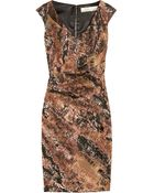 Lela Rose Metallic Jacquard Dress - Lyst