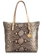 Michael Kors Large Jet Set Top Zip Python Tote - Lyst