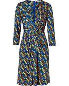 Issa Royal Blue Apple Multi Geometric Print Silk Dress - Lyst