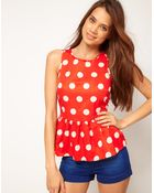 ASOS Collection Asos Sleeveless Top with Spot Print and Peplum - Lyst