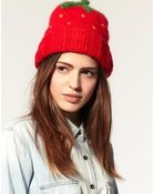 ASOS Collection Asos Strawberry Knitted Beanie Hat - Lyst