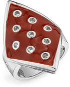 House Of Harlow 1960 Palladium Plated Ring With Enamel - Lyst