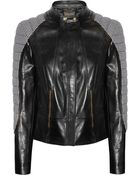 Versace Houndstooth Paneled Leather Jacket - Lyst