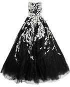 Marchesa Embroidered Silk Tulle Gown - Lyst